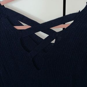 Pink Rose Sweaters - NWOT Pink Rose Navy Cable Knit Sweater, Size L